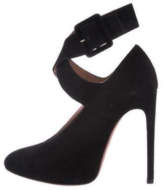 Alaia Suede Ankle Strap Pumps