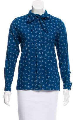 MiH Jeans Floral Print Button-Up Top