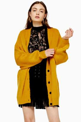 Topshop Knitted Mustard Cocoon Cardigan