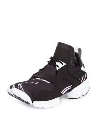 Y-3 Kohna Lightning-Print Leather Sneaker, Black/White Purple $385 thestylecure.com