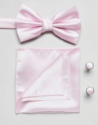 Burton Menswear Tie And Pocket Square Set In Pink