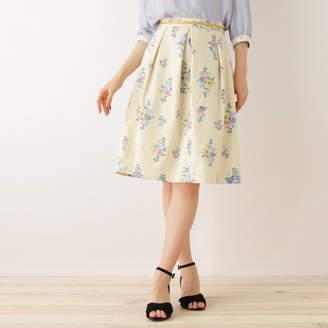 Couture Brooch (クチュール ブローチ) - クチュール ブローチ Couture brooch フラワープリントスカート (オフホワイト)