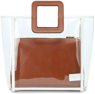STAUD Framed Shirley PVC and leather tote