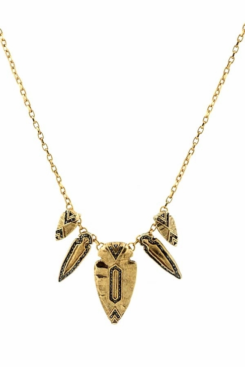 House Of Harlow Five Station Arrowhead Hematite Necklace