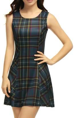 Allegra K Women's Round Neck Sleeveless Plaids Mini A Line Dress L Black