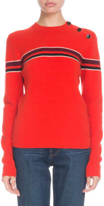 Proenza Schouler PSWL Button-Shoulder Striped Wool-Cashmere Pullover Sweater