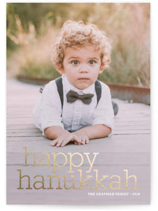 Happy Hanukkah Foil-Pressed Holiday Cards