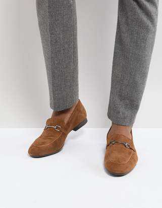 Dune Bar Loafers In Tan Suede