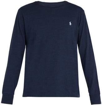 Polo Ralph Lauren Logo Embroidered Cotton Jersey T Shirt - Mens - Blue