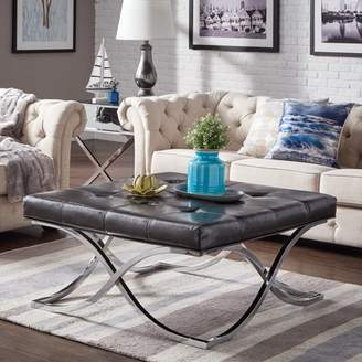 Weston Home Libby Dimpled Tufted Cushion Ottoman Coffee Table with Chrome Metal X-Base, Multiple Colors