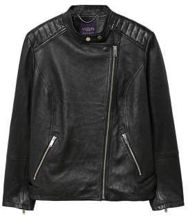 Violeta BY MANGO Quilted panels leather jacket