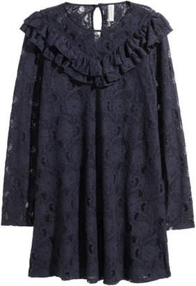 H&M Ruffled Lace Dress - Blue