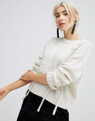 New Look Threaded Lace Up Jumper