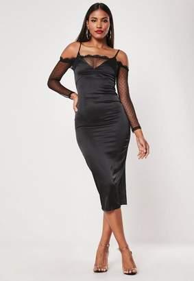 Missguided Black Bardot Satin Lace Bodycon Midi Dress