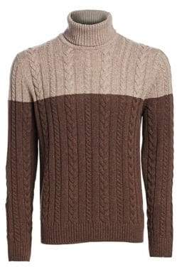 Saks Fifth Avenue COLLECTION Wool Cabled Turtleneck Sweater