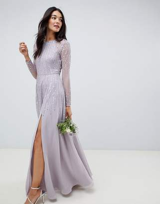 Asos Design DESIGN maxi dress in delicate linear sequin with long sleeves 9f6429ed2