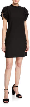 Kate Spade Ruffle-Sleeve Mini Crepe Dress