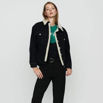 Maje Denim jacket with shearling details