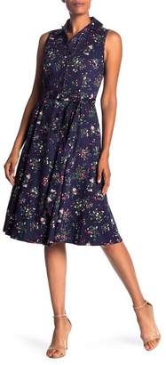Chetta B Sleeveless Floral Print Shirt Dress