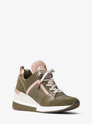 Michael Kors Georgie Canvas And Suede Sneaker