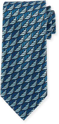 Ermenegildo Zegna Woven Leaves Silk Tie, Green