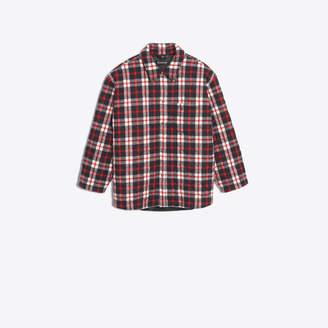 Balenciaga Wool blend flannel checked shirt