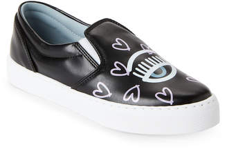 Chiara Ferragni Black Flirting Heart Slip-On Sneakers