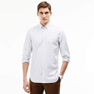 Lacoste Men's Slim Fit Striped Stretch Cotton Pinpoint Shirt