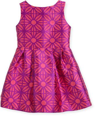 Neiman Marcus Charabia Sleeveless Daria Geo-Print Party Dress, Size 2-4