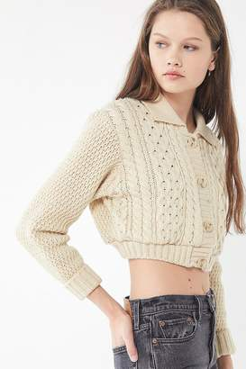 Urban Renewal Vintage Recycled Cropped Fisherman Cardigan