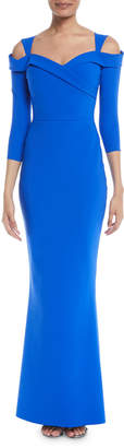 Chiara Boni Joselya Cold-Shoulder 3/4-Sleeve Mermaid Gown