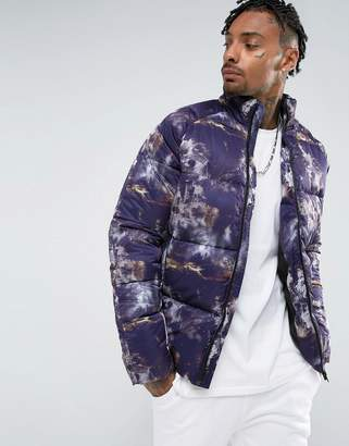 Asos DESIGN Puffer In All Over Print In Purple