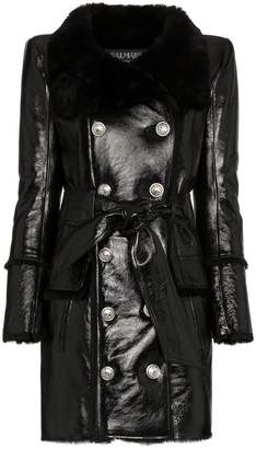 Balmain double-breasted shearling lined leather coat