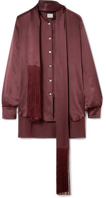 Hillier Bartley - Fringed Silk-satin Shirt - Burgundy