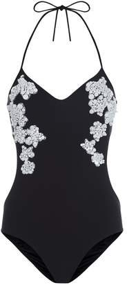 Beach Gem Black Underwired Swimsuit With CutOuts And Sequin Applique