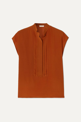 Chloé Pintucked Silk-crepe Blouse - Orange