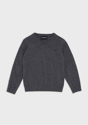 Emporio Armani Cotton Blend Plain Knit Sweater With V-Neck And Logo On The Front