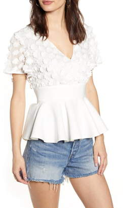 Endless Rose Floral Applique Peplum Blouse