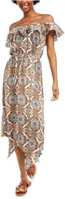 BeBop Juniors' Ruffled Cold-Shoulder Maxi Dress