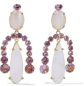 Bounkit Gold-Tone Amethyst And Stone Earrings