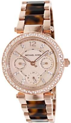 Michael Kors Mini Parker Tortoise Acetate and Rose Gold-Tone Women's Watch, MK5841