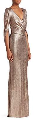 Talbot Runhof Women's Metallic Draped Scuba Gown