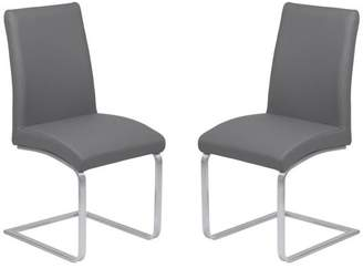Armen Living Blanca Contemporary Dining Chairs, Gray Faux Leather