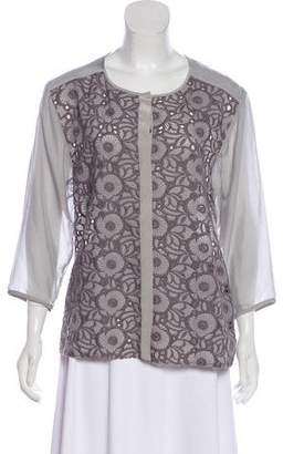 Tibi Embroidered Silk Blouse