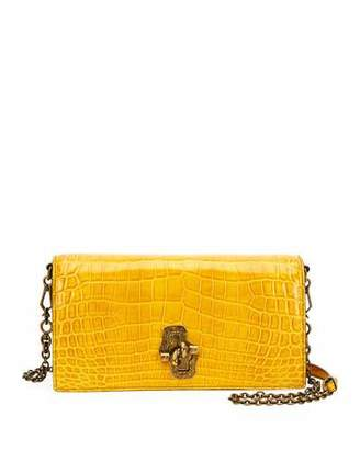 Bottega Veneta Shiny Crocodile Knot-Lock Clutch Bag with Strap