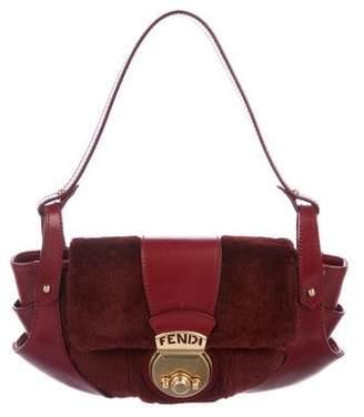 Fendi Rabbit & Leather Shoulder Bag