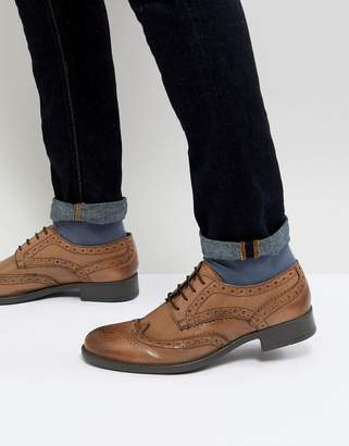 Frank Wright Brogues In Tan Leather