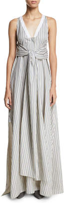 Rosetta Getty V-Neck Sleeveless Wrap-Panel Striped Poplin Long Dress