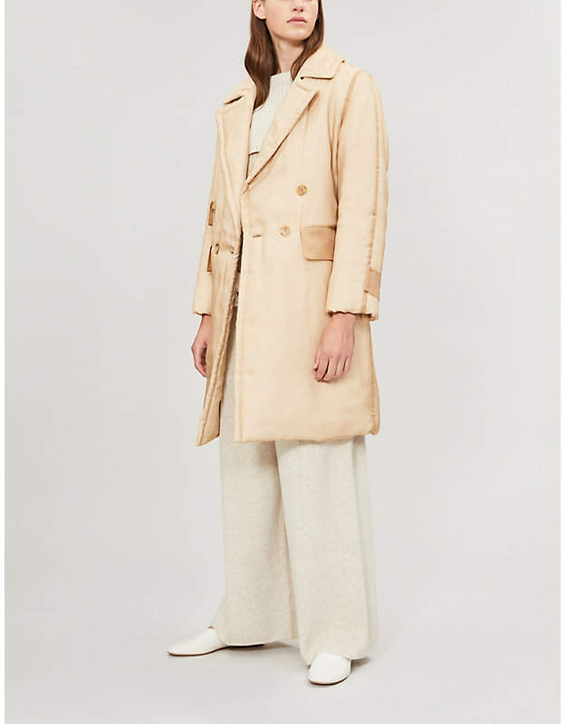 Kirie double-breasted silk-voile coat