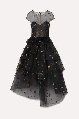 Monique Lhuillier Asymmetric Tiered Glittered Tulle Midi Dress - Black